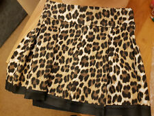 'Relish' Leopard Print Flutted Mini Skirt with Faux Leather Hem Size S