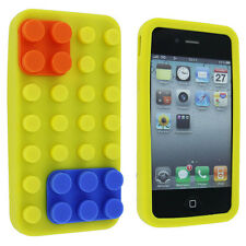 Yellow with Orange and Blue Lego Silicone Case Cover for iPhone 4 / 4S