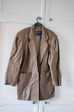North Beach Leather Jacket Vintage Manteau gris taupe marron clair beige années 80 PARIS 14 16!