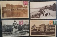 France Postal History 4 1920's French Postcards to Uk & Paris Casino Arcachon +