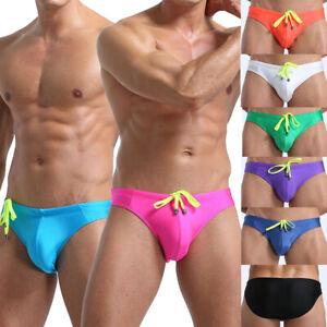 Men's Sexy Underwear Low Waist Swim Trunks Briefs Sport Swimming Swimwear Boxer