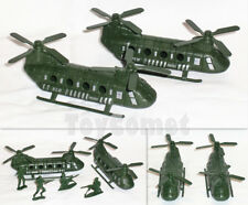 2 pcs Military Green Chinook Helicopter Models Toy Soldier Army Men Accessories