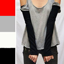 Black Long Arm Warmers Cotton Sleeves Wrist Elbow Cover Fibromyalgia Gloves 1078