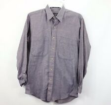 Vintage Burberry Mens Small Long Sleeve Casual Flannel Button Shirt Blue Cotton