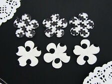 60 Classic Houndstooth & Dot White/Black Print Pattern Flower Applique/trim H320