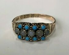 Antique C1890 / 9ct solid gold w/ Turquoise & Agate ring size O 1/2 - 7 1/4
