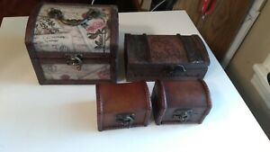 Wooden Jewelry Box Lot Of 4 Swing Latch