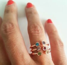 3 Rose Gold Gem Stone Other Stacking Ring Stories Pink Green Blue Mango Stories