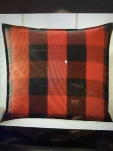"NEW Pottery Barn Buffalo Check Pillow Cover Black Red 24"" Plaid Farmhouse NWT"