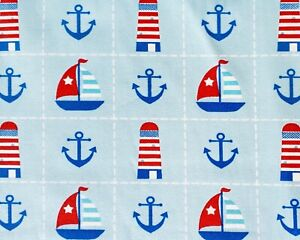 Blue NAUTICAL CHECK Cotton fabric anchor lighthouse ship boat seaside craft 50cm