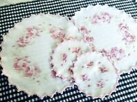 Vintage Shabby Cottage Chic Round Doilies Country White w/PinkRoses Set of 4