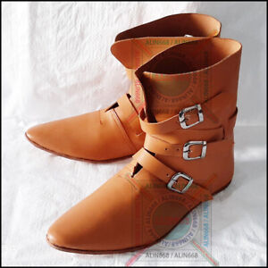 Medieval Vintage Leather Shoes Drama Theater Cosplay Viking Pirate Dress Shoe