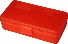 NEW MTM 50 Round Flip-Top 40/45/10MM Cal Ammo Box - Clear Red