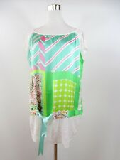 Womens Vtg 90s Summer Print Satin Oversize Casual Lagenlook Top Blouse sz L BH60