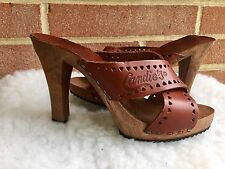 Vintage 1980's Candies Original Sandals High Heels Slides Brown Women Sz 5 Italy