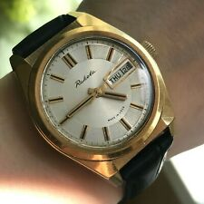 Soviet Classic RAKETA Gold Plated Luxury Rare English Day Date 18k USSR Watch SU