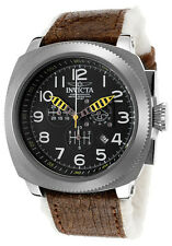 New Mens Invicta 12313 Aviator Polar Fur Leather Swiss Brown Strap Watch