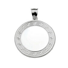 Greek Key 925 Sterling Silver Engravable Round Pendant
