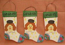 LOT OF 3 GUARDIAN ANGEL PLAQUES WOODEN SOCK ANGEL FACE