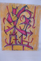 "Manny Blanc signed 1972 Modern Drawing ABSTRACT ""C """