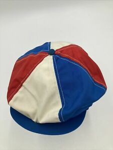 vintage newsboy hat red, white , and blue