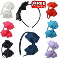 Kids Girls Cute Hair Bands School Bow alice Band headband Satin Fabric 8 Colours
