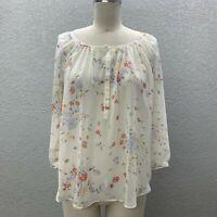 Lauren Conrad Top Blouse Women's S White Floral Semi Sheer Henly Long Sleeve