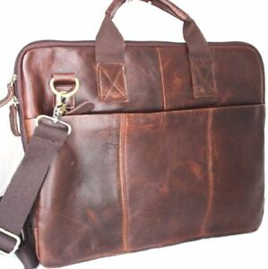 GENUINE natural Leather Bag fit iPad Notebook Business man LAPTOP  handcrafted