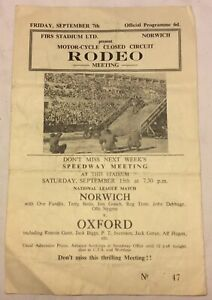 """Collectable Vintage Closed Circuit """"Rodeo"""" Scramble Programme Norwich 1962 RARE"""