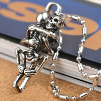 Men Punk Style Tibet Silver Stainless Steel Couple Skull Pendant Chain Necklace.