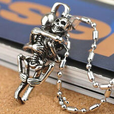 Men Punk Tibet Silver Stainless Steel Couple Skull Pendant Chain Necklace SH
