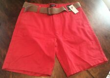 NWT Men's Sailor Red NAUTICA Belted Shorts Size 34W $59.50