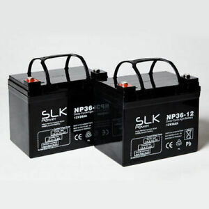 2 x 12v 36AH AGM Mobility Scooter Wheelchair Batteries - Shoprider Roma Cadiz