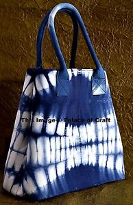 Indian Ethnic Tie Dye Indigo Blue Purse Hobo Shoulder Bag Tote Shopping Bag Boho