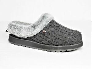 Skechers Sweater Knit Faux Fur Slippers Ice Angel Charcoal 7M EUC