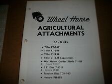 wheel horse tractor AGRICULTURAL  ATTACHMENTS PARTS & INSTRU MANUAL SEE PIC