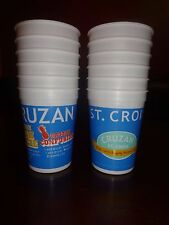 BRAND NEW SET OF 12 PLASTIC CRUZAN RUM CUPS WITH COCKTAIL RECIPE