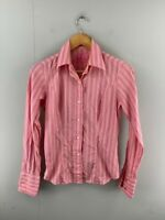 Austen Brothers Womens Pink Striped Long Sleeve Button Up Shirt Top Size US 4/8