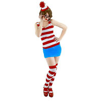 Where's WALDO Wenda Stripe Dress Hat Glasses Sexy Costume WOMEN'S S M L XL