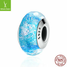 Christmas 925 Silver Blue Snowflake Dazzling CZ Glass Murano Beads fit Bracelets