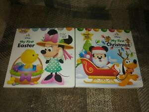2 Disney Board Books My First Easter & Christmas Touch And Feel First Editions