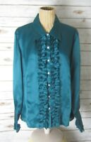 NEW TALBOTS WOMAN PETITES 20W Teal Green Blue LS Silk Ruffle Blouse Rhinestones