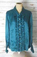 NEW TALBOTS WOMAN PETITES 20W Teal Green Blue LS Silk Ruffle Blouse Rhinestones