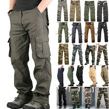 Mens Combat Tactical Work Cargo Army Pants Military Camo Loose Casual Trousers
