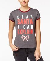 Mighty Fine Juniors' Santa Holiday Graphic T-Shirt. Size: Large