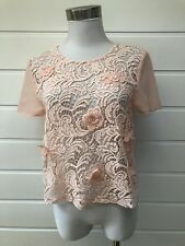 BEBE Sydney Pale Apricot Sheer Top With Lace Front And Attached Flowers -Size 12