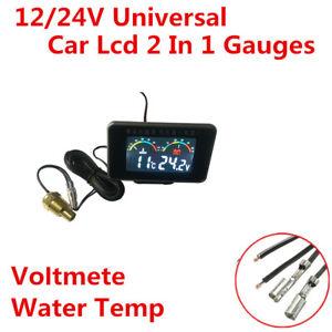 Car 2 in 1 LCD Digital Voltmeter Gauge Water Temperature Meter + sensor 12/24V