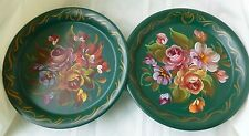 VINTAGE Pair HAND PAINTED Tole Wall Pockets Green Floral Signed FINE ARTS STUDIO