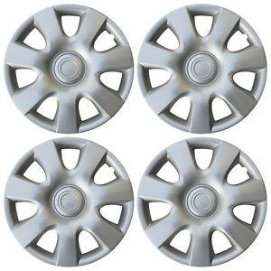 "4 pc Hub Cap ABS Silver 15"" Inch Rim Wheel Skin Cover Hubcaps Set Caps Covers"