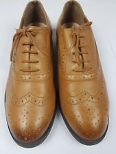 NEW LOOK Womans Tan Brown Leather Lace Up Shoes Flats Brogues UK 5 Wide Fit VGC